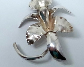 Vintage Sterling Orchid Brooch - Sterling Silver Brooch - Sterling Flower Pin - Pure Peruvian Silver