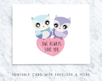 happy valentines card, digital valentines card, printable owl card, owl always love you, printable card, romantic cards