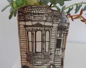 Vintage 70s Jon Carlos Lopez Planter Succulent  Pot Victorian House San Francisco Handmade  Ceramic