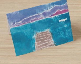 Pastel Mountain Landscape with Dock Greeting Card