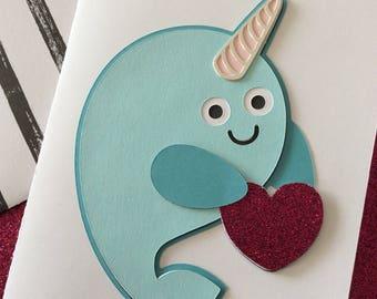 Narwhal Valentine's Day Card Handmade