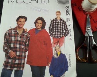 Misses and Mens Pullover Jacket McCalls 8362 Casual wear Outdoors uncut