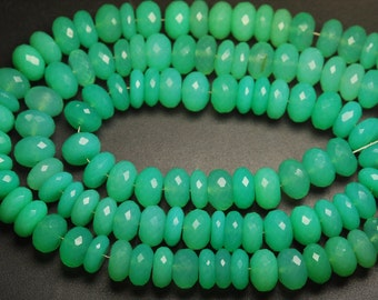 8 Inch Strands,Chrysoprase Chalcedony Faceted Rondelles Shape Beads,6-7mm Size,Wholesale Price