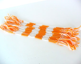 10 Orange and White Friendship Bracelets - Chinese Staircase Friendship Bracelets