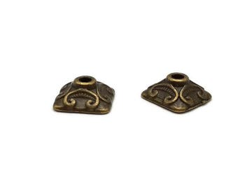 20 bead caps 10 mm - antique bronze square cups - Cup Tibetan - A221