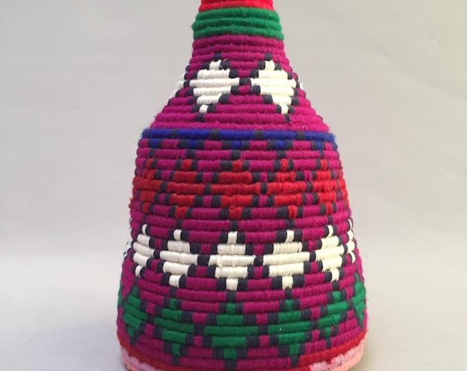 vintage moroccan wool bread basket
