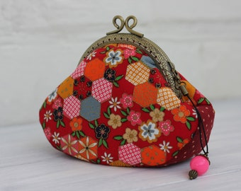 Small coin purse wallet, Patchwork coin purse, Sakura Coin Purse Japanese style coin purse, Colorful purse, Coin Pouch, womens Wallet