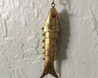 Vintage Brass Koi Fish Necklace