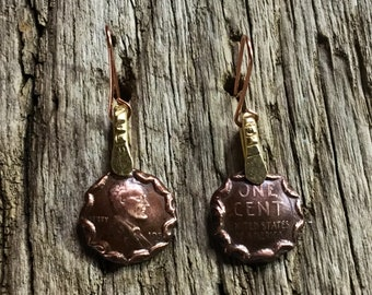 Wheat Penny Earrings. Custom Coin Jewelry. Copper Penny Earrings with Brass. Wheat Penny Jewelry. Penny Earrings for Her. Mother's Day Gift.