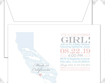 State Baby Shower Invites (available in all states), State Invite, California Baby shower Invitation, Custom CA State Shower Invite, waves
