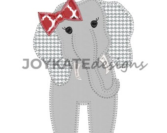 Elephant with Bow Applique Embroidery Design