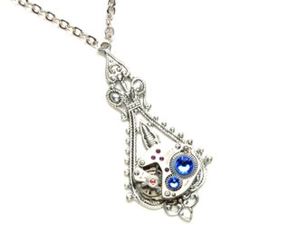 BLUE Steampunk Necklace BRILLIANT BLUE Steampunk Watch Necklace Steampunk Bride Wedding Victorian Steampunk Jewelry by Victorian Curiosities