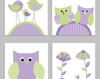 Baby Girl Nursery, Green and Purple, Nursery Wall Art, Baby Girl Wall Art, Owl Nursery Decor, Flower Nursery Art, Bird Baby Decor, Canvas