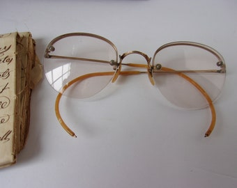 Antique Art Deco 1930s Gold Filled Eyeglasses, Old Wire Rim Eye Glasses Spectacles with Yellow Marble Celluloid Coated Arms and Nose Pieces