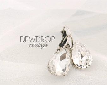 Simple wedding earrings - bridesmaids earrings - bridal earrings - crystal earrings - pear drop earrings - Dewdrop earrings