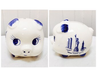 Vintage 1960s Ceramic Blue & White New York City Piggy Bank