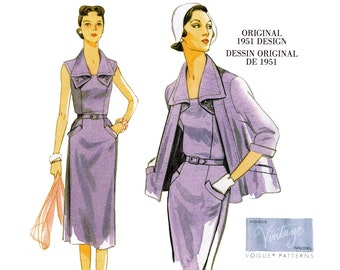 Vogue V 9083 Strapless Sheath Dress Jacket Belt Vintage 1951 Re issue Sewing Pattern Size 6 - 14 or 14 - 22 UNCUT Factory Folded