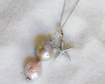 Edison Pearl Pendant With Starfish, Sterling Silver, Tahitian, , Pendant, Argentium, Floating, Hawaiian, Festival, Etsy, Wire, Necklace