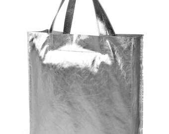 Elegant Simple Leather Bag Silver Color