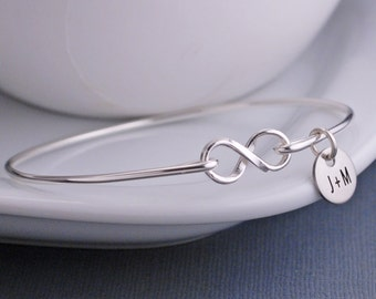 Infinity Bangle Bracelet, Christmas Gift, Personalized Infinity Jewelry, Sterling Silver Infinity Bracelet, Anniversary Gift