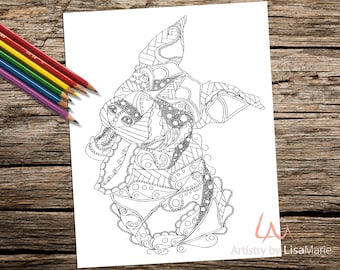 Coloring Book page, Coloring Pages, Instant download coloring, adult coloring, coloring for adults, Printable coloring page, dog coloring