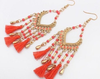 Bohemian Design Beads and Tassel Earrings - Red