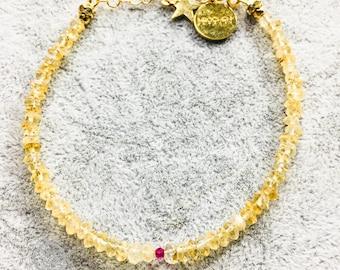 Citrine & Rubby elegant handmade bracelet
