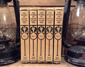 1911 Edgar Allan Poe Antique Book Set, The Works of Edgar Allan Poe, Published by Leslie Judge Company, with, The Raven, Tales and Poems
