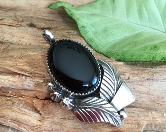 Black Onyx pendant/ Artisan Handmade/ Sterling Silver/Southwestern Jewelry/ BohoChic