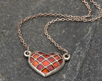 MINT David-Andersen, Norway. Toril Bjorg? Vintage Modernist  Sterling Silver Necklace Heart Pendant with Chain