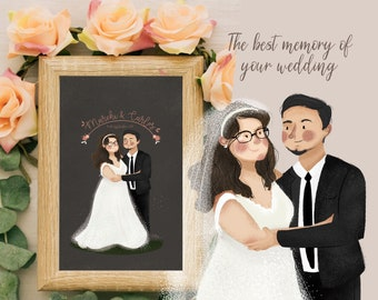 Wedding portrait, Wedding illustration, Retrato Boda, Retrato de pareja, Custom Portrait, bride and groom illustration, couple portrait,