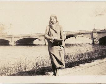 vintage photo Flapper Teenage Gal by Bridge Holds Purse Waterloo Iowa