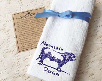 Flour Sack Towel - Rocky Mountain Oysters - Ranch Kitchen Decor - Bull Towel - Novelty Tea Towel  - Rodeo Decor - Farmhouse Decor -Cow Lover