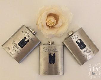 Personalised Hipflasks, 6oz, Stainless, Wedding, Groom, Groomsmen, Gift, Suit.