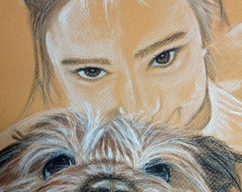 """CUSTOM Portrait, Custom Dog Drawing, From Picture,  girl and dog, charcoal drawing, personalized art, pet memorial, Christmas gift,  12x16"""""""