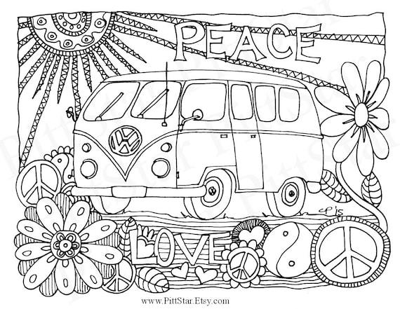 70s van coloring pages   Instant Download Whimsical VW Van Adult Printable Coloring