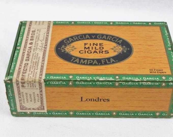 Vintage Garcia Y Garcia, Tampa FLA. 1950s, Wood Cigar Box,  Londers Cigars, Repurpose