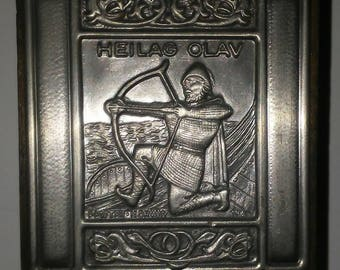 Vintage pewter matchbox holder Heilag Olav Norwegian made in Norway antique matchbox holder