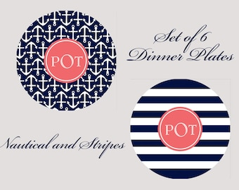 Set of 6 Personalized Dinner Plates - Choose ANY Design - Monogram Dinnerware - Dinner Plates
