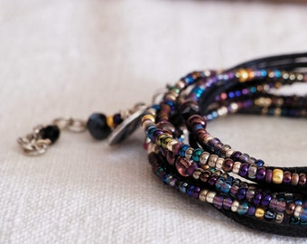 New Wrap Bracelet, Silver and black, Boho, bracelet for men and women, Unisex Jewels, handmade Jewel, four strands bracelet