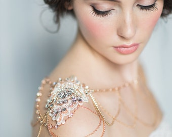 Rose Gold Shoulder Necklace, Rhinestone Shoulder Jewelry, Bridal Shoulder Necklace, Body Jewellery, Gold Statement Necklace, BRIENNE