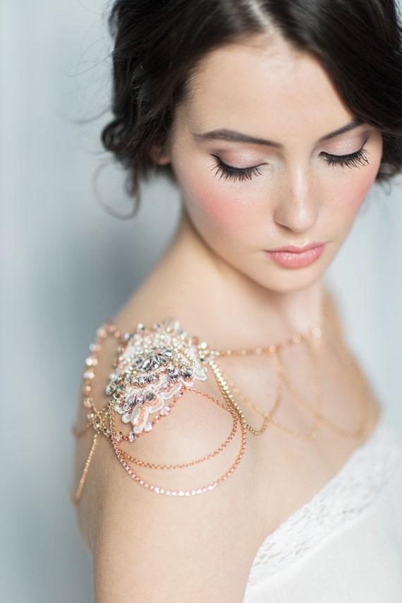 Rose Gold Shoulder Necklace Rhinestone Shoulder Jewelry