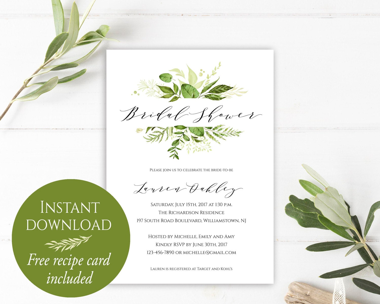 Bridal shower invitation instant download bridal shower zoom filmwisefo Gallery