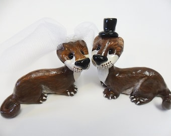 Sea Otter Wedding Cake Topper -  Wedding Cake Topper -  Polymer Clay Figurines