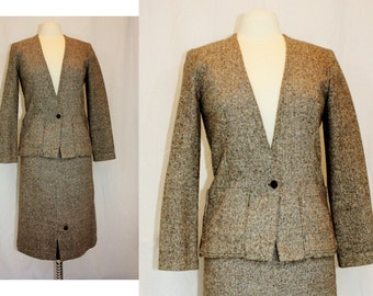 1970's Brown Tweed Wool Jacket Small Vintage Retro 70s Fitted Preppy Hipster Handmade