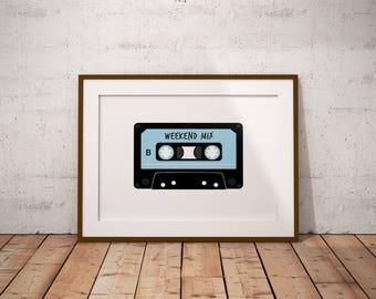 Mix Tape Digital Print, Tape Cassette Art, Weekend Mix, Digital Download, Printable Art, Wall Art, Instant Download, 80s Art, Music Art