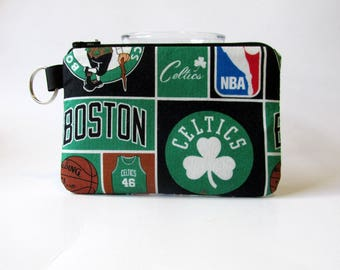 Handmade small pouch with zipper - split key ring - Boston Celtics basketball NBA coin purse credit cards - basketball fan gift