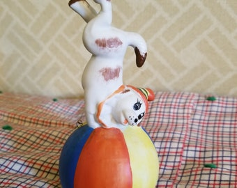 VINTAGE Sweet Clown Dog on Bell Excellent condition!