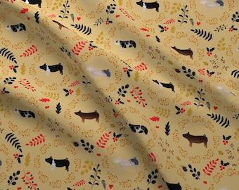 Pig Fabric - Fall Leaves Pigs Swine By Thecraftyblackbird - Hog Farm Fall Rustic Farmhouse Decor Cotton Fabric By The Yard With Spoonflower