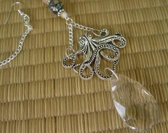Octopus suncatcher, octopus pendant, rear view mirror charm, window ornament, abalone shell, rainbow prism, crystal suncatcher